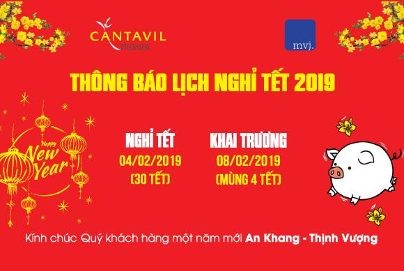 Thông báo lịch nghỉ Tết Nguyên Đán 2019 tại Cantavil Premier